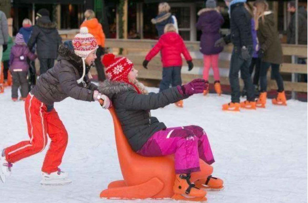 Kids playing safely on ice