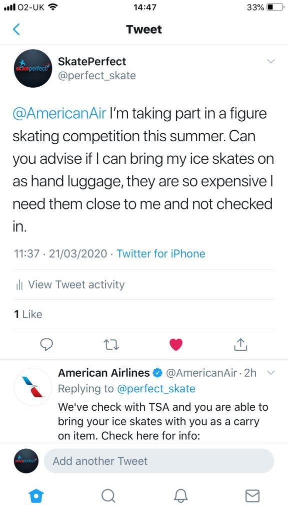 American Airlines say on twitter that you can bring ice skates in the hold of the airplane.