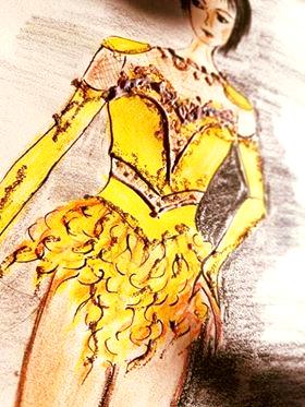 Дизайн желтого платья для фигурного катания