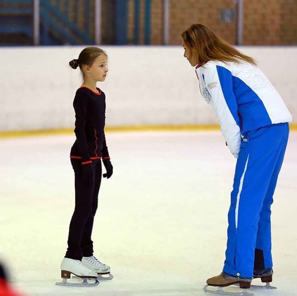 A young Anna Shcherbakova training on the ice, one of Russia's best skaters